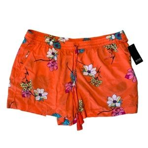 🏝5 for $25🏝NEW Orange Floral Stretchy Shor…
